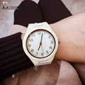2017 lady Memorial Day gift Enmex girl's white watch simple light colour Bamboo wristwatch handmade natural wood quartz watches