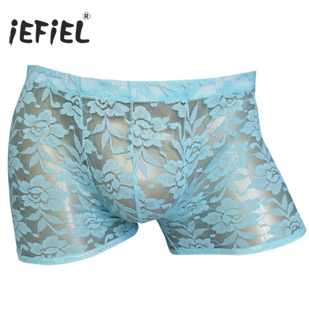 Iefiel Lingerie Underwear Boxer-Shorts Rose-Flowers Lace Panties Bulge-Pouch Sexy Men's