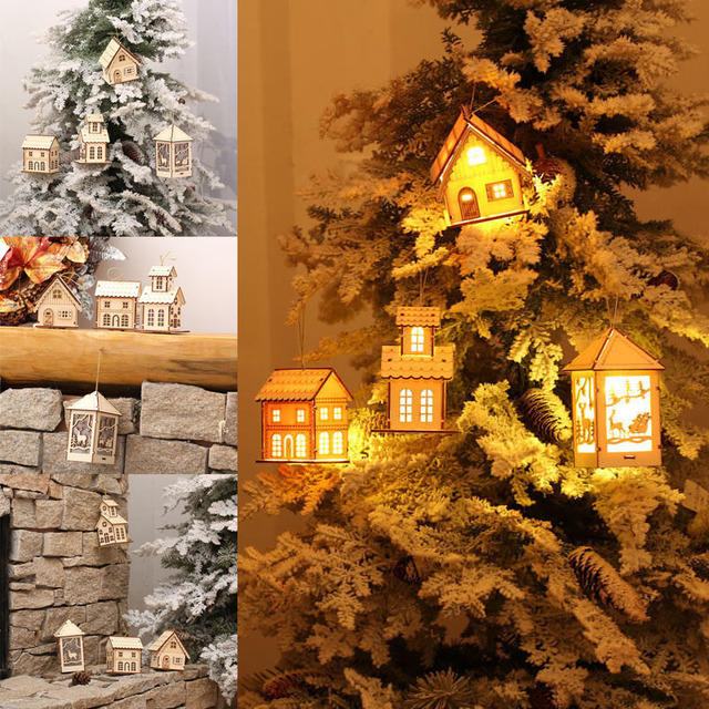 cute wooden house warm white light led christmas tree wall hanging wood church village scene pre - Wooden Led Christmas Decoration