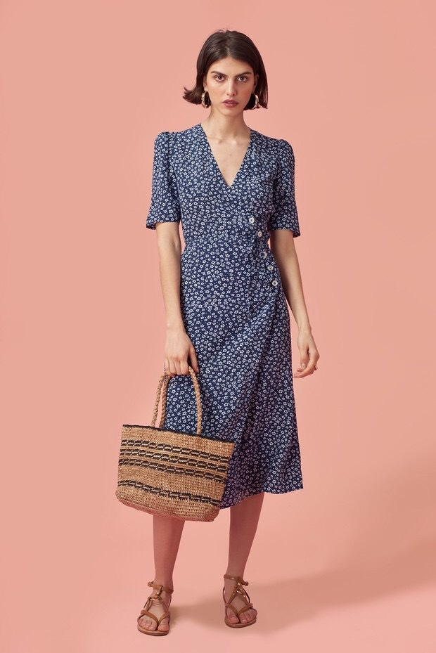 dcf8972bce022 US $35.96 38% OFF|100% Viscose floral print jeanne damas waist buttons  summer sweet fresh women midi length wrap dress with belt-in Dresses from  ...