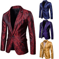 Stylish Men's Casual Slim Fit Formal One Button Suit Blazer Coat Jacket Tops Gold Red Purple Navy Blue M 3XL
