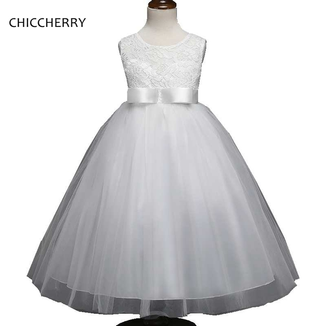 55a6cb306c White Graduation Ball Gowns for Children Bowknot Kids Wedding Party Lace  Dress Robe Enfant Mariage Summer Teenager Girl Clothes