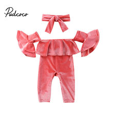 a2bac2f51ee 0-5Y Newborn Toddler Kids Baby Girl Off shoulder Flare Sleeve Velvet Romper  Jumpsuit Headband 2PCS Outfits Princess Clothes
