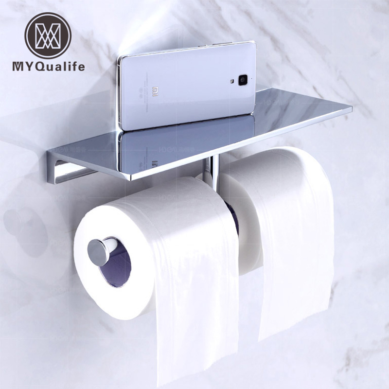 Best Quality Wall Mounted Double Toilet Paper Holder Chrome Brass Bathroom Tissue Paper Rod Mobile Phone Rack free shipping high quality bathroom toilet paper holder wall mounted polished chrome