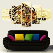 5 шт леопардовая Модульная картина животные поп арт hd Печать