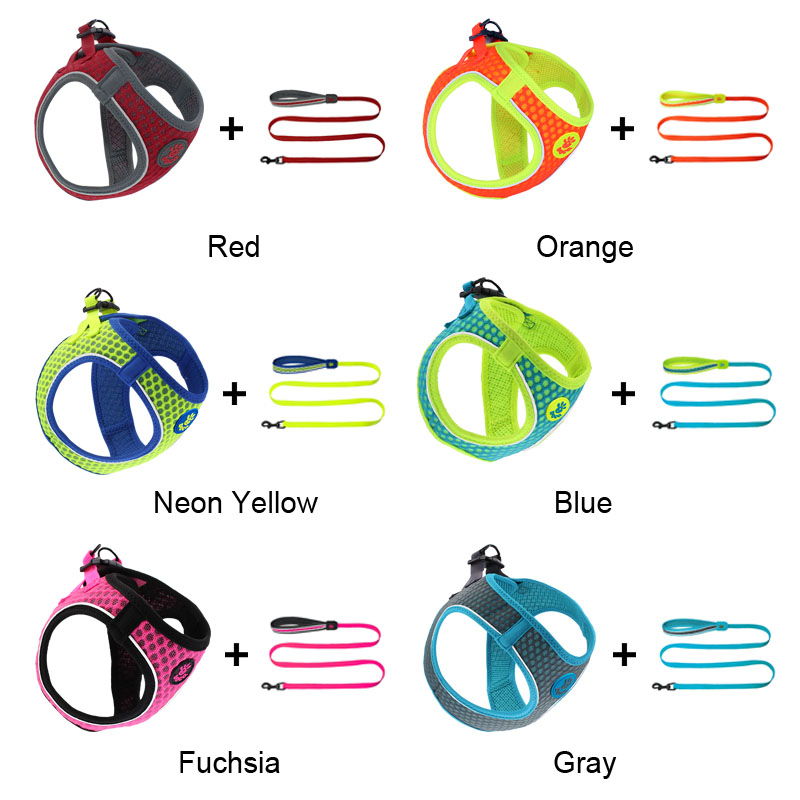 MySudui cat small dog harness and leash set Reflective Soft mesh chihuahua dog puppy harness lead dog vest harness arnes perro (2)