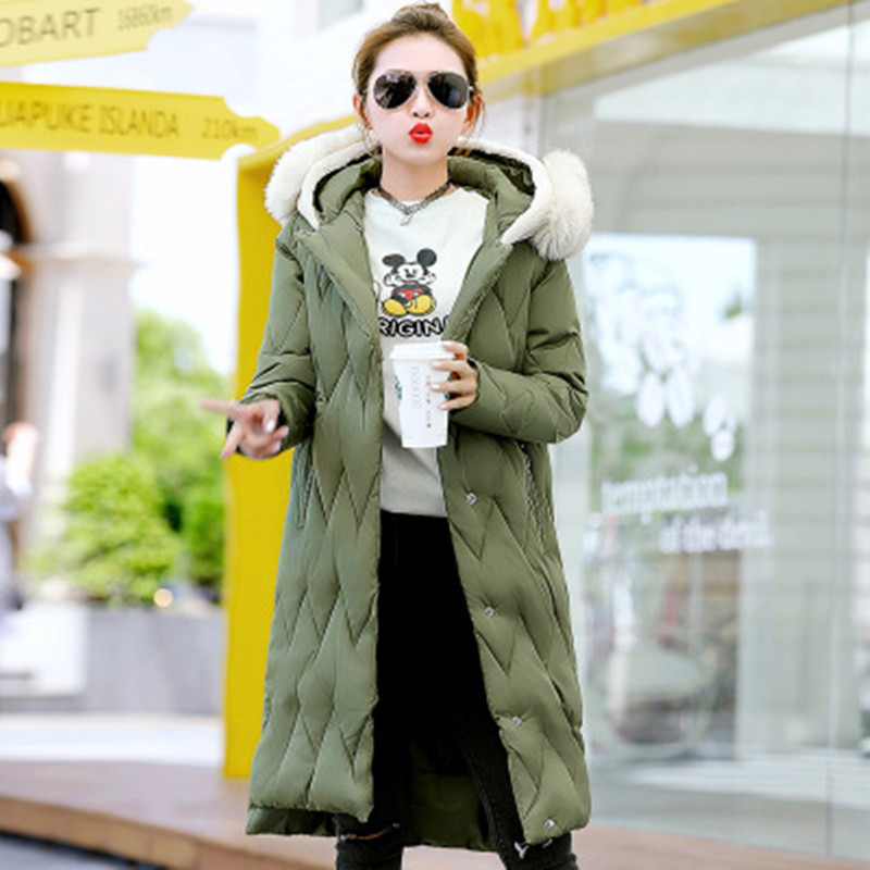 2017 Winter Thicker Long Cotton Coats Womens Black with Hooded Long Style Maternity Clothes Fashion Party Outwear Green On Sale winer womens down jackets with hooded zipper bright black thick maternity clothes brand design ladies coats high quality outwear