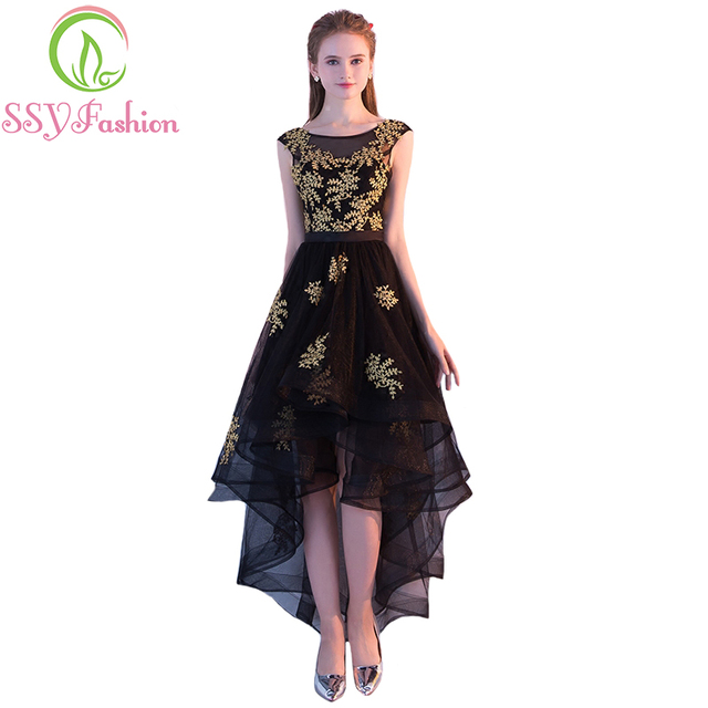 SSYFashion 2017 New Evening Dress The Bride Banquet Elegant Black Lace Short  Front Long Back Party Gown Custom Prom Fomral Dress aec6df735859