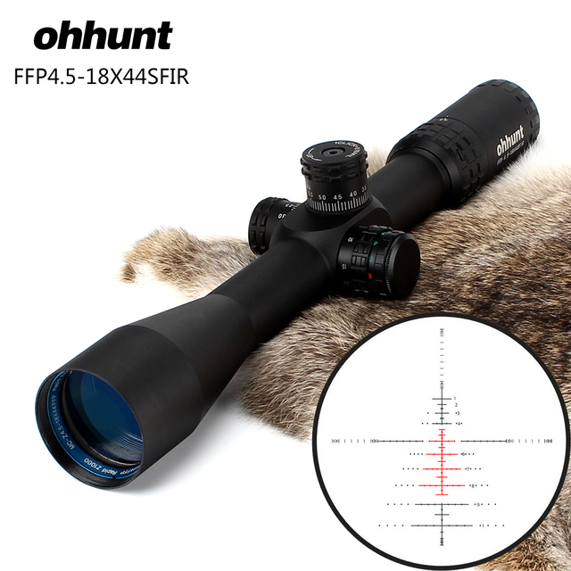 Hunting ohhunt FFP 4.5-18X44 SFIR First Focal Plane Optical Riflescopes Side Parallax R/G Glass Etched Reticle Lock Reset Scope