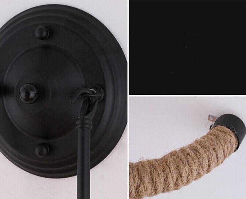 Loft vintage intrecciato corda di canapa lampade da parete e