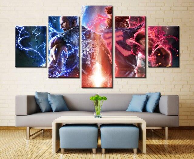 5 Panel Tekken Computer Games Wall Art Modular Picture Modern Home ...