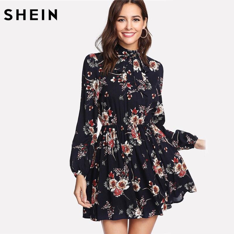SHEIN automne Floral femmes robes multicolore élégant à manches longues taille haute une ligne Chic robe dames cravate cou robe