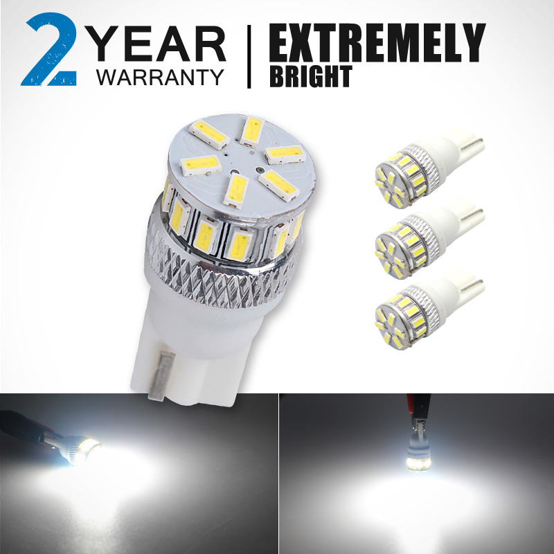 CN360 4PCS Extremely Bright 3014 Chipsets 194 168 2825 W5W T10 New Style LED Bulbs Xenon White 2 Years Warranty Included
