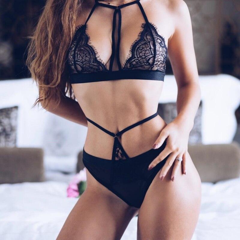 Sexy Halter Lace Bra Panty Set Push Up Seamless Black Bralette Lingerie Bandage Transparent Women Female Set Underwear Intimates