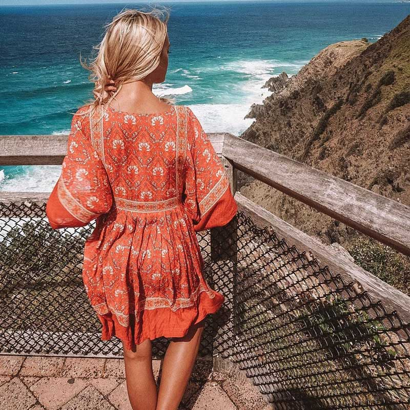 1581afbed78 boho dress 2018 new red floral print rayon kimono sleeve loose summer dress  O neck mini bohemian chic women dresses vestidos-in Dresses from Women s ...