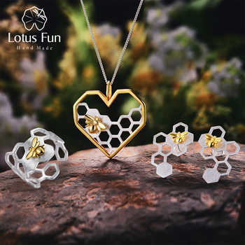 Lotus Fun Real 925 Sterling Silver Handmade Fine Jewelry Honeycomb Home Guard Jewelry Set with Ring Earring Pendant Necklace - DISCOUNT ITEM  62% OFF All Category