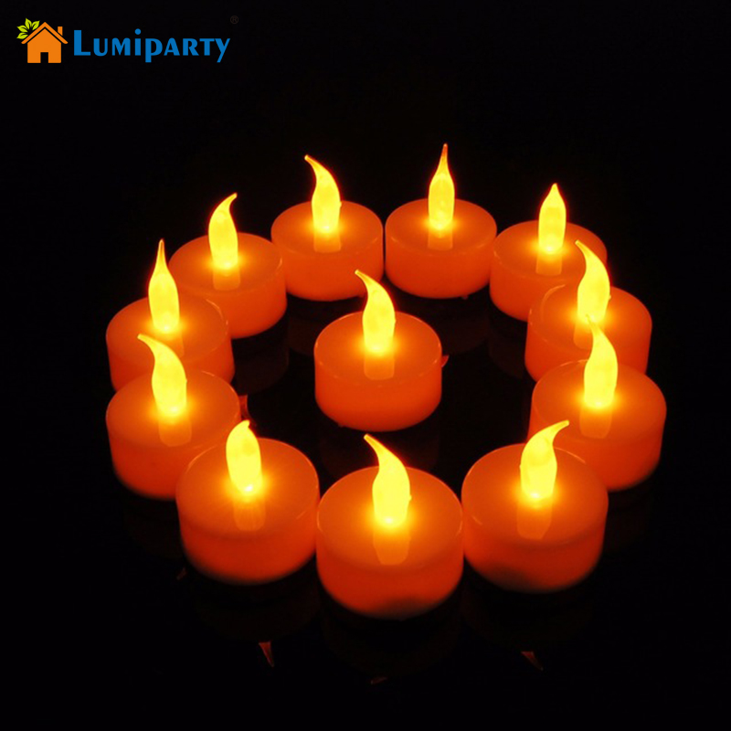 LumiParty 12pcs LED Candles NightLight Yellow Flickering LED Birthday CandleLight Battery Operated Electronic Fameless Tealight