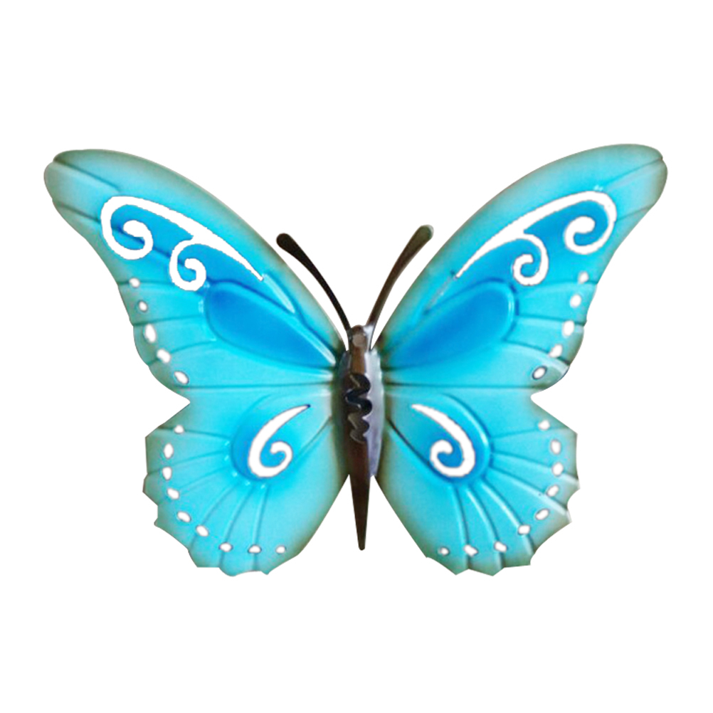 Metal Colourful Butterflies Wall Art Garden Fence Home Ornament 16 2 Butterfly New Antique Decor Simulation Hanging Decoration Blue