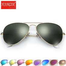 High Quality Real Glass Lens Sunglasses Men Women Pilot Driving G15 Sun Glasses Mirror Goggles UV400 Eyewear 58mm With Package недорго, оригинальная цена
