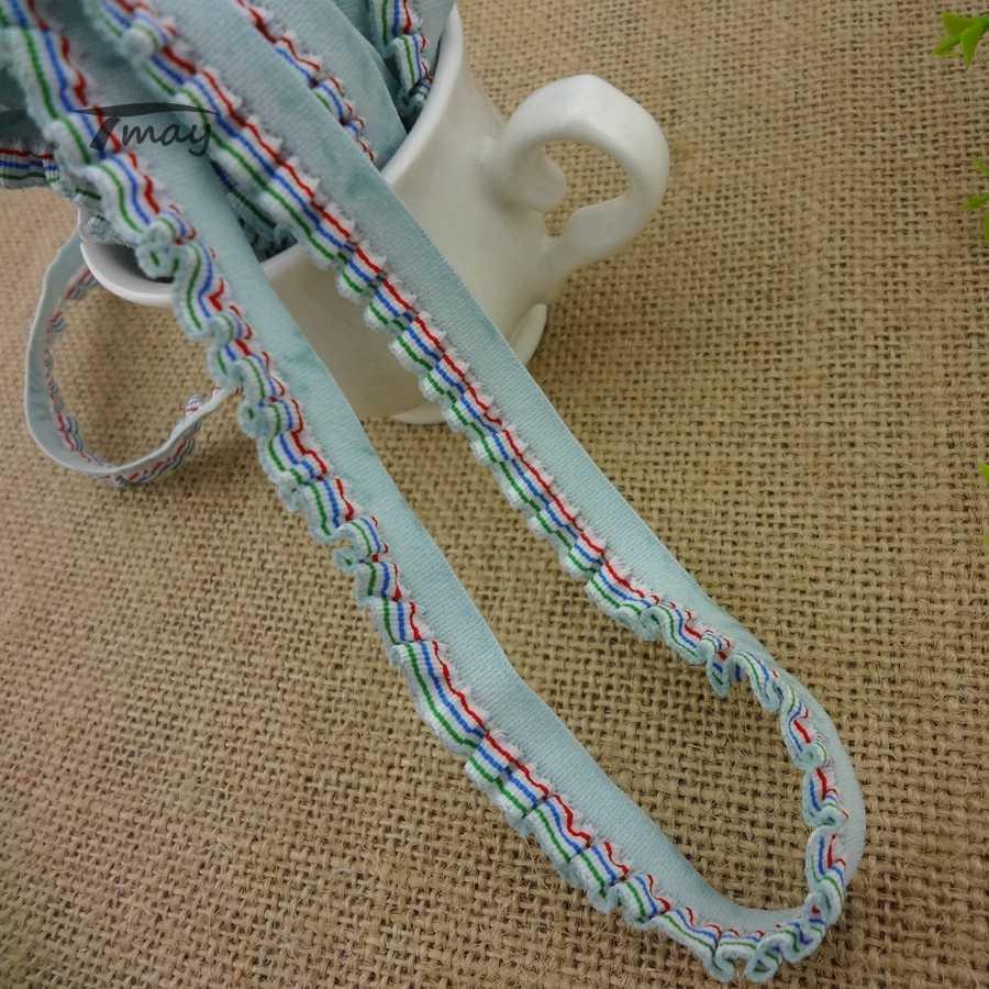 #1150 EN KALITELI! Şerit Fırfır elastik şerit süs Renkli oluklu kenar Dantel Şerit Elastik Trim diy Giysi hairbands