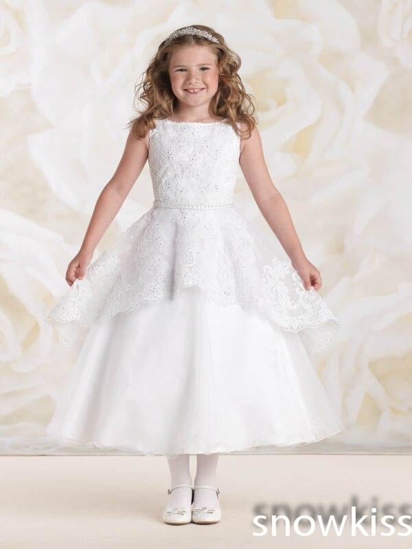 New White Ivory Tulle Ball Gown Short Flower Girl Dresses Neck Appliques