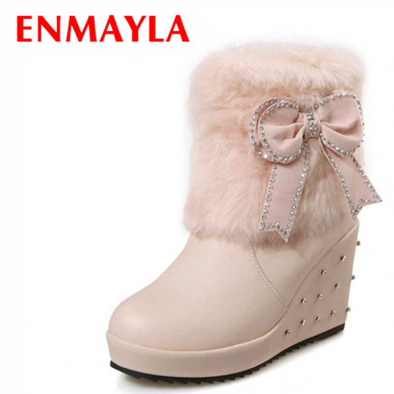ENMAYLA Pink White Fur High Heels Ankle Boots for Women Wedges Heels Rhinestone Slip On Platform Boots Bow Ladies Shoes Woman