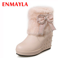 ENMAYLA Pink White Fur High Heels Ankle Boots for Women Wedges Heels Rhinestone Slip-On Platform Boots Bow Ladies Shoes Woman