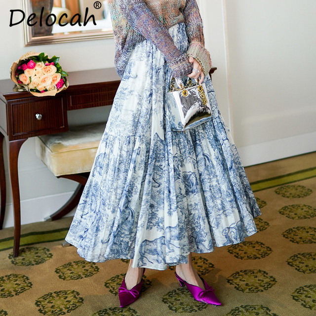1d0cdcb544eb5 Delocah Autumn Women New Skirts Runway Fashion Designer Blue And White  Printed Pleated Mid Calf Slim Lady Skirt