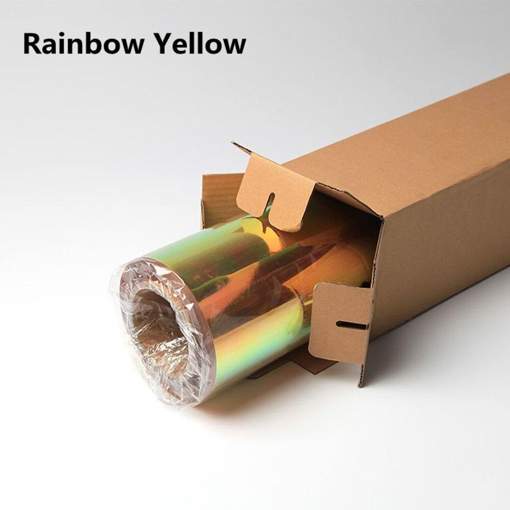 50 см* 100 см Нео хром голографическая теплопередача виниловая футболка виниловая Железная на ПЭТ Материал 20 ''x 39,37'' - Цвет: yellow