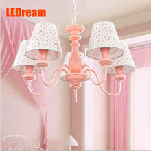 The new cute contracted droplight The princess girl children room bedroom study LED lamps and lanterns of pink cloth