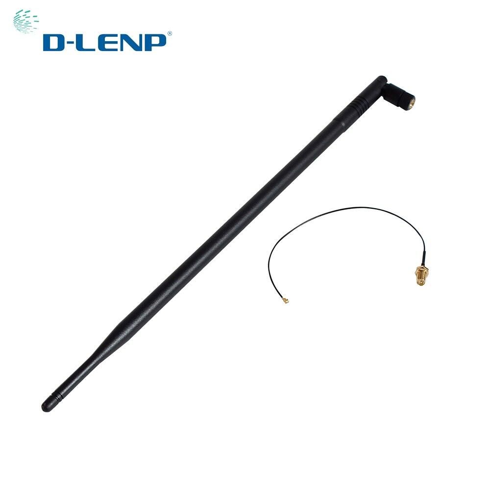 Dlenp 2.4 GHz 9dbi Wifi Antenne avec RP-SMA Connecteur mâle pour Routeur Sans Fil + ipx RP-SMA Jack Mâle Broches Pigtail Câble