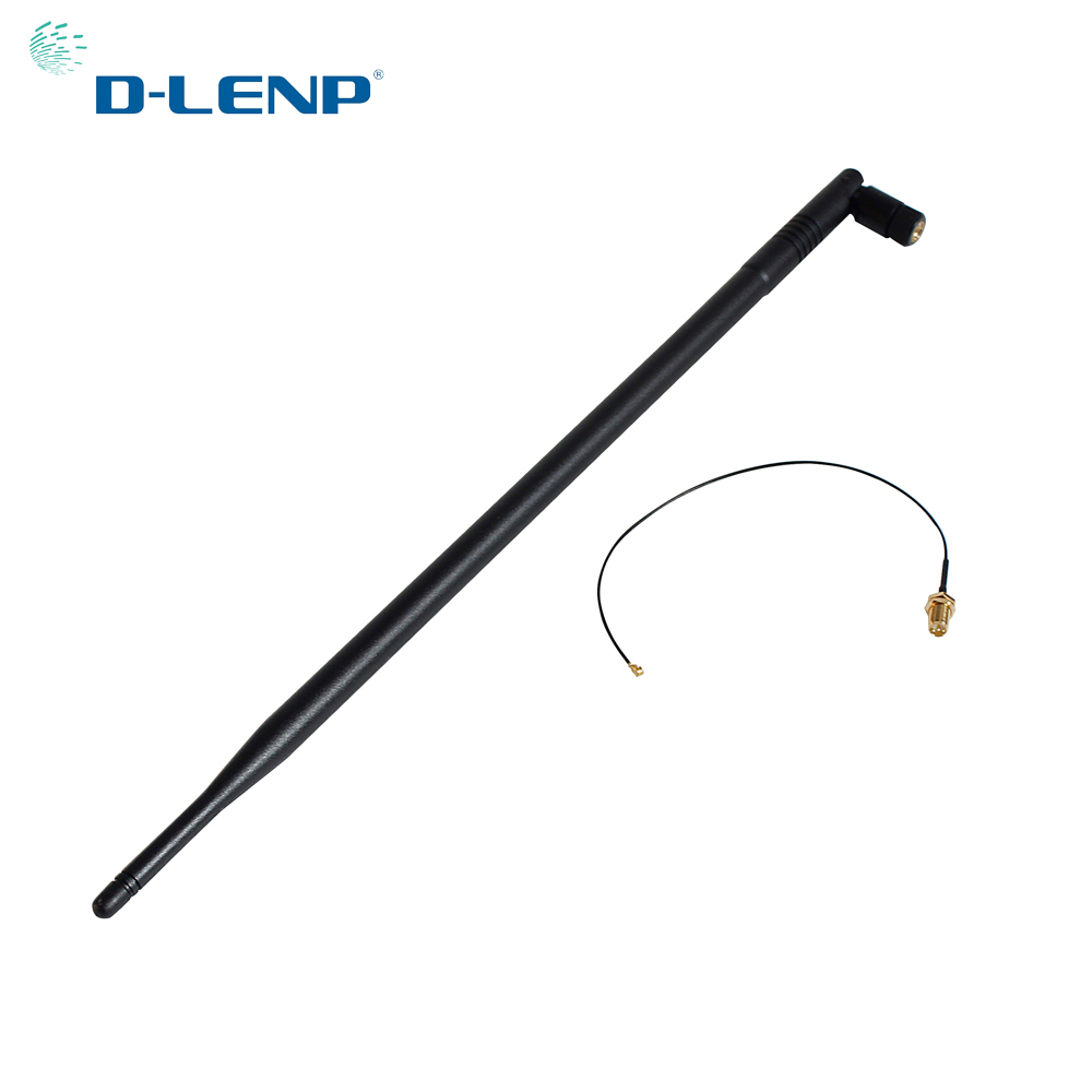 Dlenp 2.4GHz 9dbi Wifi Antenna With RP-SMA Male Connector For Wireless Router+IPX To RP-SMA Jack Male Pin Pigtail Cable