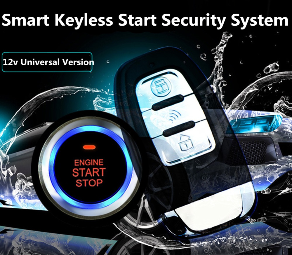 12V Universal 8Pcs Car Alarm Keyless Start Security System PKE Induction Anti-theft Keyless Entry Push Button Remote System