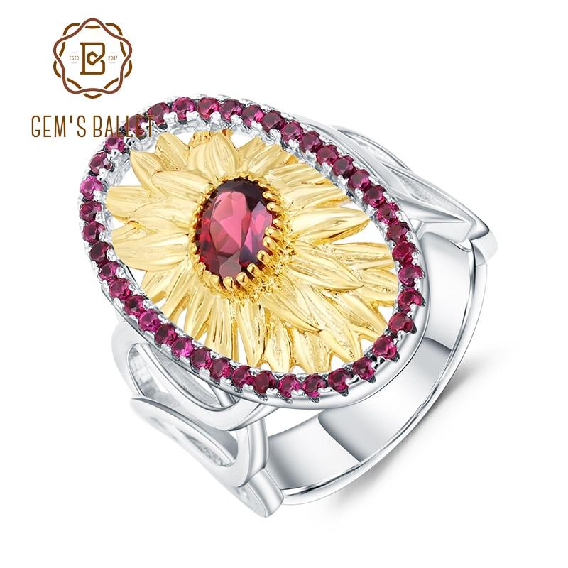 GEM'S BALLET 1.00Ct Natural Rhodolite Garnet Sunflower Rings 925 Sterling Silver Handmade Ring For Women Bijoux Fine Jewelry