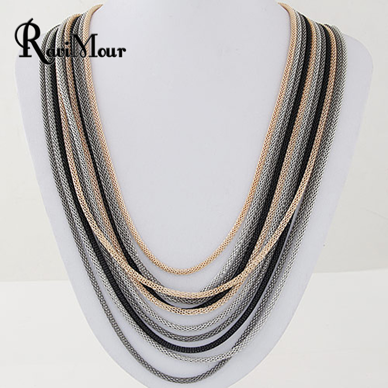 RAVIMOUR Statement Necklace for Women Fashion Multilayer Chains Collares Mujer Choker Maxi Necklaces & Pendants Boho Jewelry mjartoria crystal mystic statement necklace women maxi necklace fire pendants