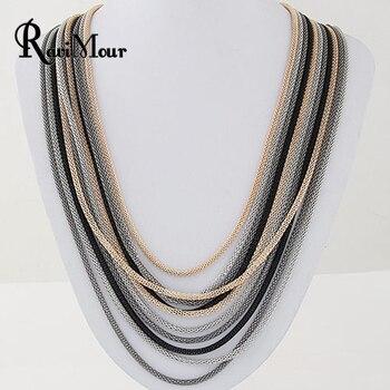 b7bd1294a73e RAVIMOUR collar de declaración para Mujer moda multicapa cadenas collar  Mujer gargantilla Maxi Collares y colgantes joyería Boho