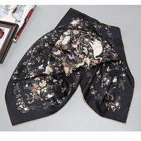Black Crane Prints 100% Twill Silk Scarf Wraps Shawl Fashion Hijab Head Scarves for Women Gifts 35 X 35 Inches