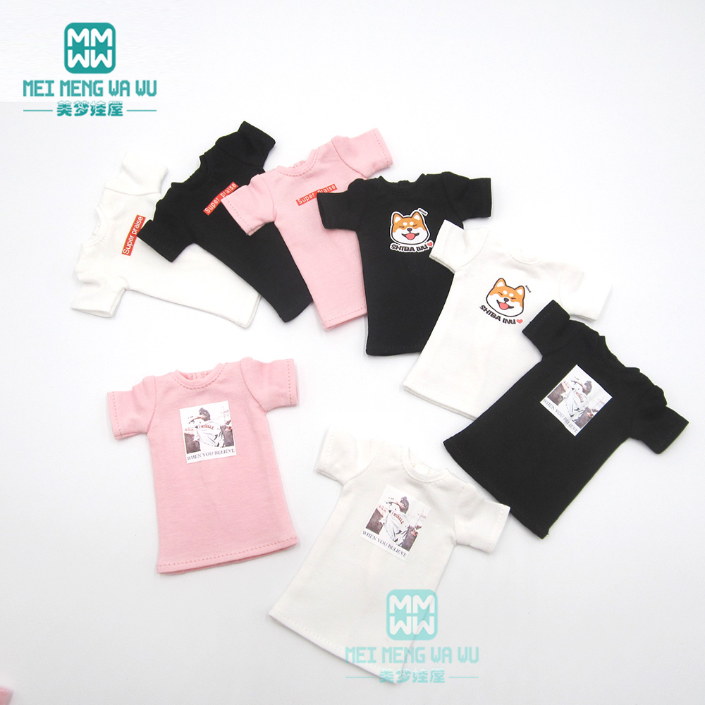 1 PCS Blyth Doll Clothes White/pink/black Long T-shirt For Blyth , Azone, Obistu, FR 1/6 Doll