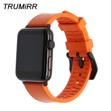 Correa de caucho naranja para reloj, correa de Fluororubber para iWatch Apple Watch de 38mm, 40mm, 42mm, 44mm, Series 5 4 3 2 1, pulsera con cierre de acero