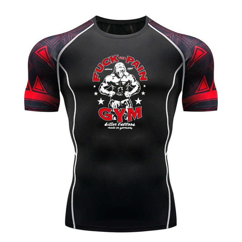 Pria Kebugaran Lengan Pendek K Berlaku T-shirt Pria Binaraga Tubuh Hangat Kompresi Kemeja MMA Kebugaran Atas Peralatan