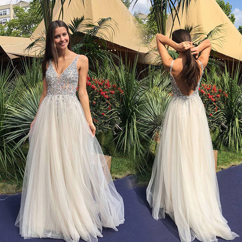 White Maxi Dress Women Party Long Sequin Dress V Neck Backless Lace Dress For Party Wedding Prom Bridesmaid Dress