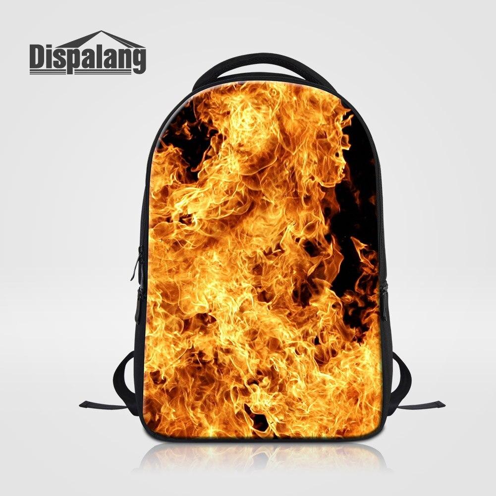 Dispalang Men's Laptop Backpacks Cool Fire Flame School Bags Rucksack For Teenage Boys Large Capacity Outdoors Knapsack Rugtas
