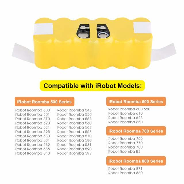 14 4V 3500mAh For iRobot Roomba Ni-MH Vacuum Cleaner Rechargeable Battery  Pack Replacement for 500 550 560 600 650 700 780 800