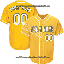 559c94553fd Yellow Wholesale OEM Custom Baseball Jersey Men Women Youth Button Down  Embroidered Team Logo Player Name