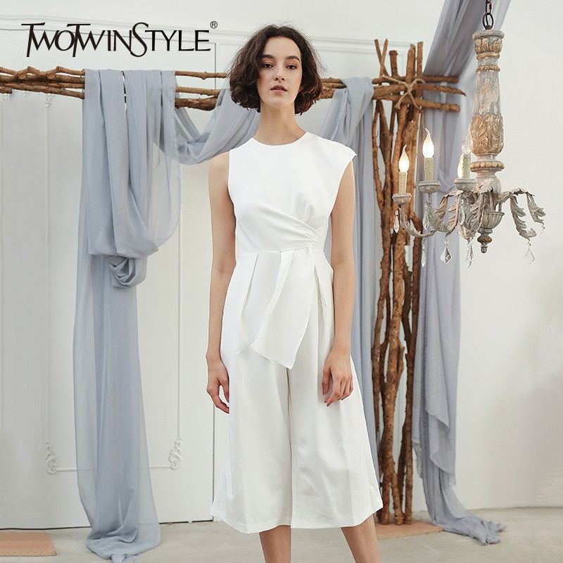 TWOTWINSTYLE Sleeveless Women s Jumpsuits Patchwork Tunic High Waist Ankle Length Wide Leg Pants 2019 Autumn