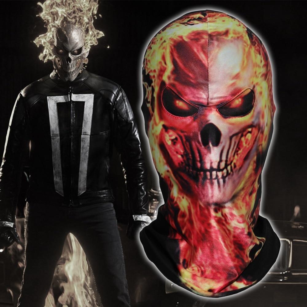 Marvel Ghost Rider Flamme Skeleton Masken Scary Schädel Geist Balaclava Cosplay Airsoft Kostüm Halloween Party Hut Volle Gesicht Maske