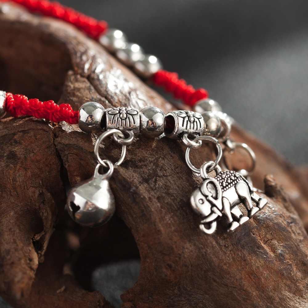 Amourjouxファッションaブレスレット赤い糸赤い文字列象チャームデュアル層調節可能なチェーンブレスレット用女性ジュエリー