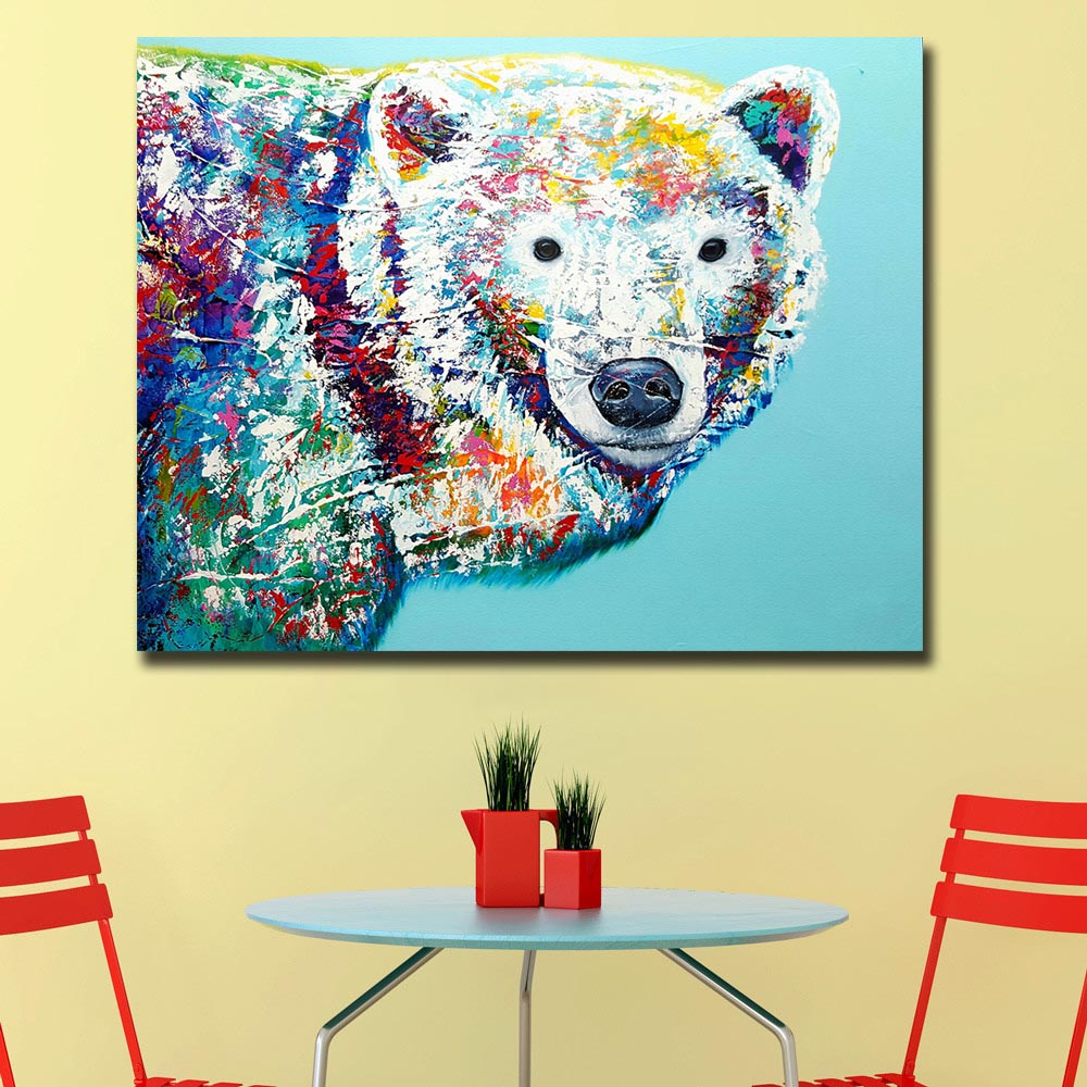 Animal Pop Art Cute little Cow Oil Painting Wall Art Paiting Canvas ...