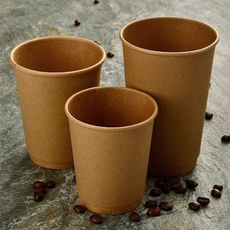 100x Disposable Coffee Cups Double decked Double Wall Layer Kraft Paper 12oz 350ml 400ml FDA SGS Custom Made in Disposable Party Tableware from Home Garden
