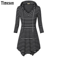 Timeson Womens Half Sleeve V Neck Hooded Hoodie Kangaroo Pocket Knitted Tunic Top Ladies Fashion Striped